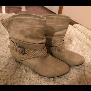 Shoes - Charlotte Russe Taupe Ankle Booties